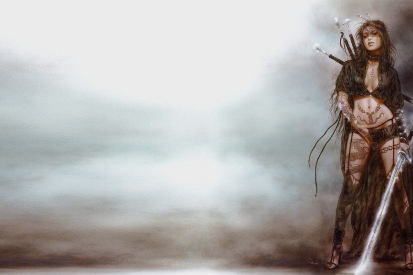 Wallpapers Luis Royo Swords Warriors Girls Fantasy 2880x1620