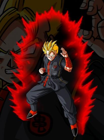 ... DBZ OC Super Saiyan with Red Aura and Background by aashan
