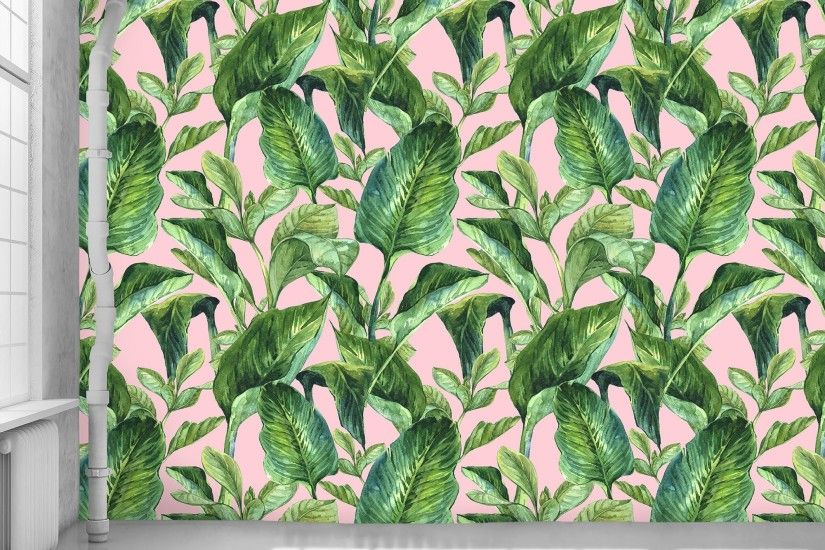 ... Banana Leaves Pink Wallpaper - WYNIL by NumerArt Wallpaper and Art