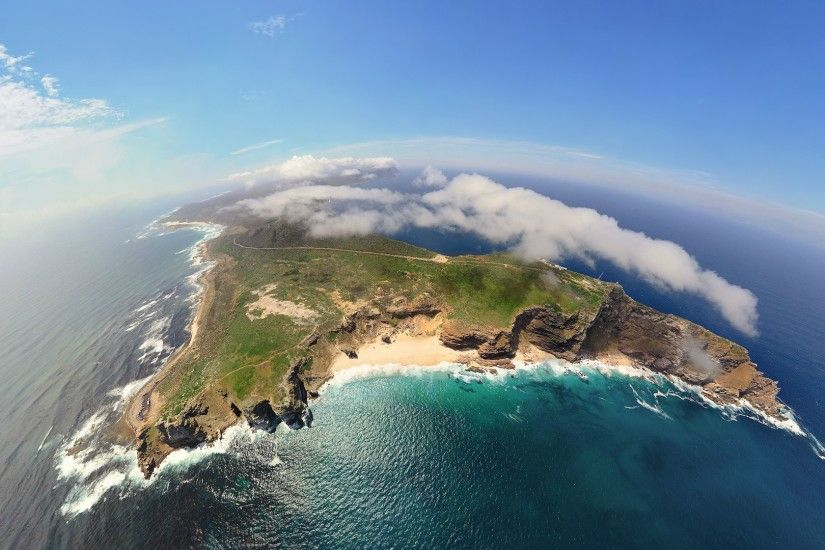 #island, #mountains, #sea, #GoPro, #waves, #landscape, #cliff, #aerial  view, #Africa, #clouds, #nature, #fisheye lens wallpaper