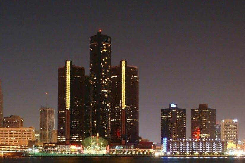 3840x1200 Wallpaper detroit, skyscrapers, night, river