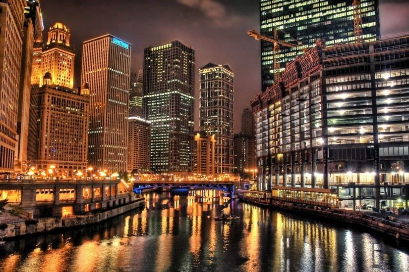 Chicago at night HD wallpaper