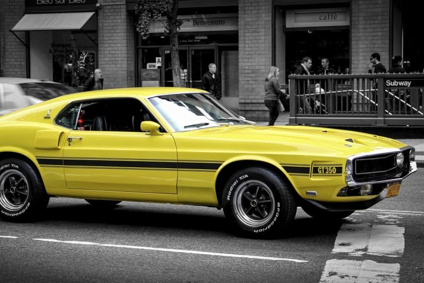 Wallpaper 3840x2160 ford mustang, gt, muscle car, yellow, side view 4K .