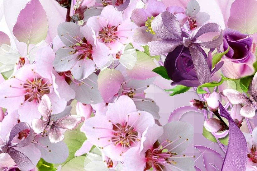 Blossomn Cherry Blossom Sakura Pink Ribbon Bow Purple Spring Rose Apple  Wallpaper Beach Theme