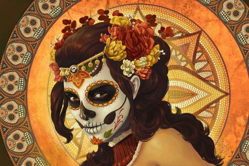Muertos Mexican dark horror witch skull faces art wallpaper background .