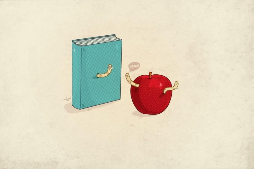 minimalistic nerd funny books apples simple background worms wallpaper