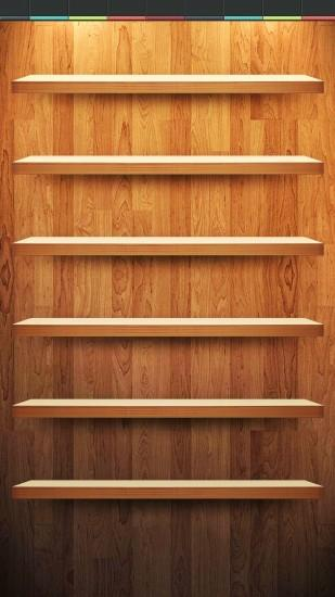 Wood App Shelf Wallpaper with Status bar background for iPhone 6/6s Plus