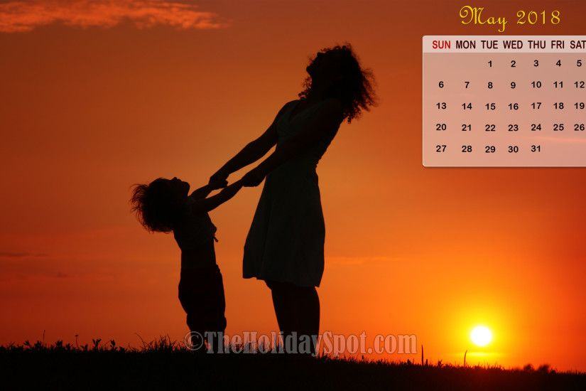 May 2018 Calendar Wallpaper - Mother and Daughter