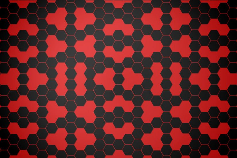 Abstract - Pattern Black Hexagon Red Abstract Wallpaper