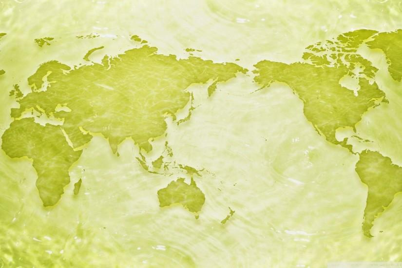 Green world map PPT Backgrounds