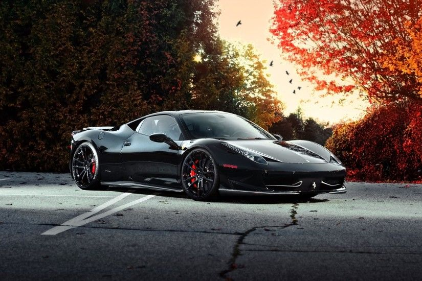Download Wallpaper Ferrari, 458 italia, Car, Side view, Black HD
