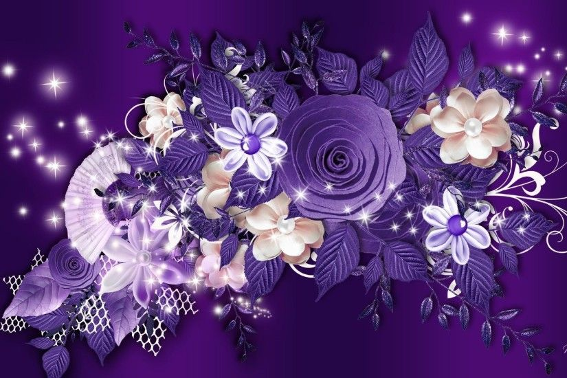 Purple roses and other flowers on a purple background wallpapers and .