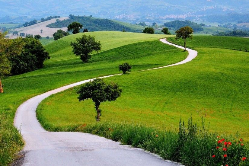 Way Tag - Landscapes Trees Path Grass Nature Spring Mountains Earth Green  Way Hills Road Nice