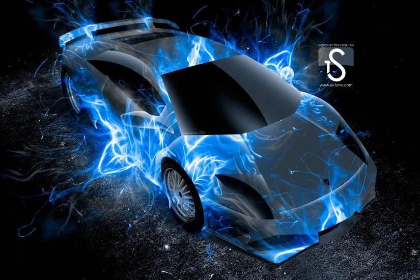 blue fire car wallpaper ...