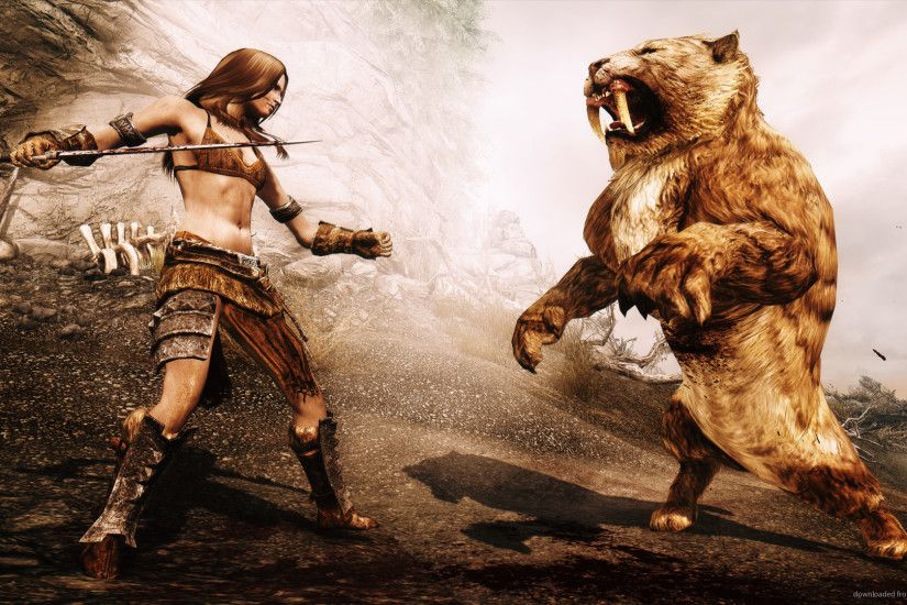 HD Skyrim fight with a sabre tooth tiger wallpaper