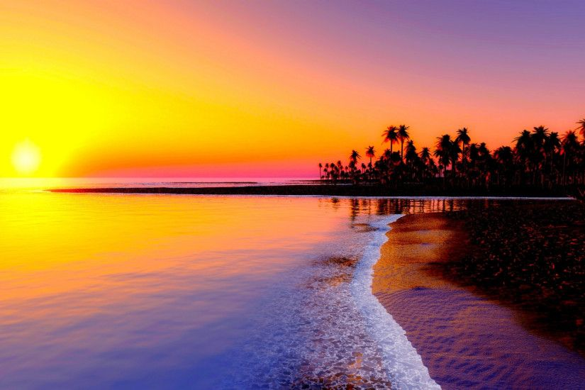 Preview wallpaper beach, tropics, sea, sand, palm trees, sunset 2048x1152