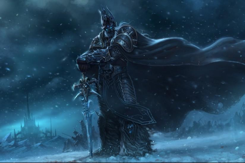 Preview wallpaper warcraft, wow, world of warcraft, lich king, warrior,  sword