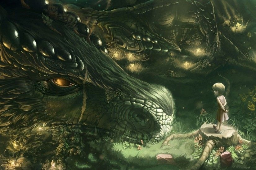 Preview wallpaper dragon, girl, forest, art 1920x1080