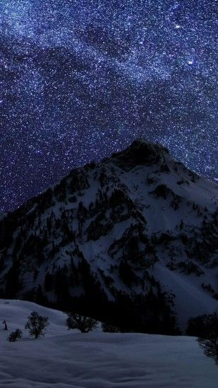 Snow Mountain Night Sky Stars Android Wallpaper ...