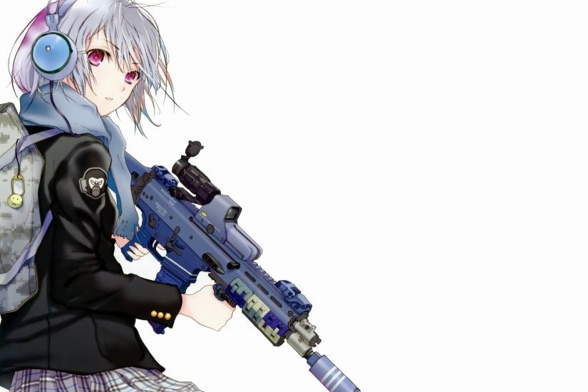 1920x1080 Wallpaper anime, girl, attitude, backpack, weapons