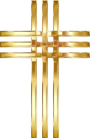 Interlocked Stylized Golden Cross Enhanced No Background