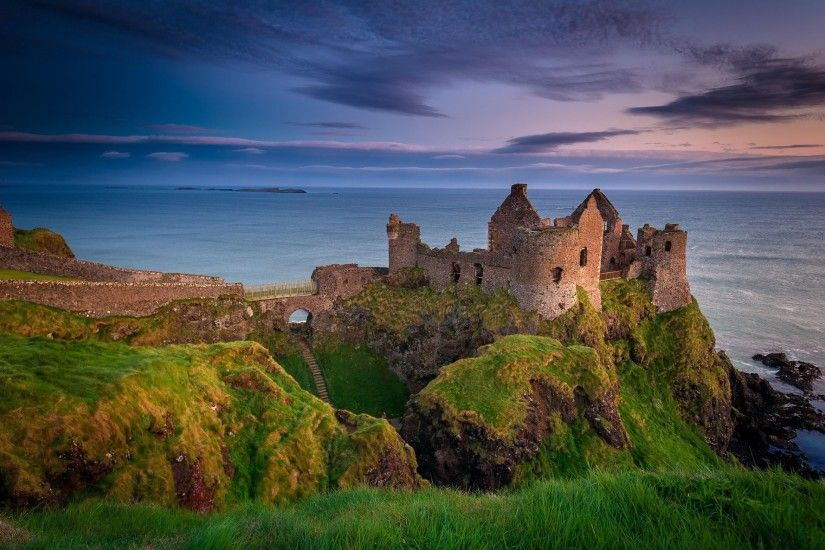 northern ireland county antrim dunluce castle ruins night