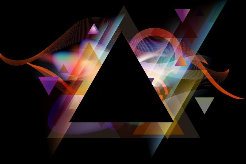 Abstract Black Background Flame Graphics Multicolor Shapes Triangles Vector  Art