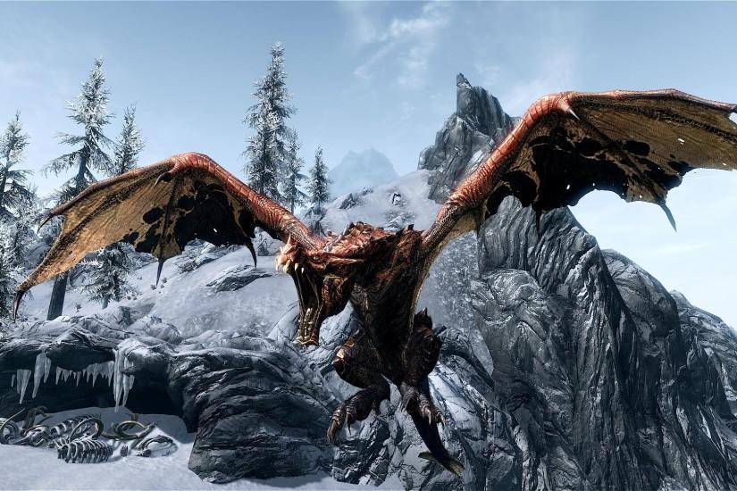 Images For > Skyrim Dragon Wallpaper Hd 1080p