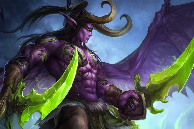 2560x1080 Wallpaper world of warcraft, illidan stormrage, art