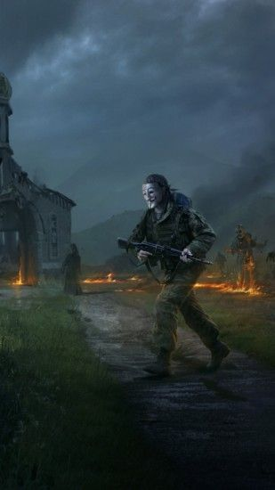 1440x2560 Wallpaper dayz standalone, apocalypse, fire, people, zombies,  church, village
