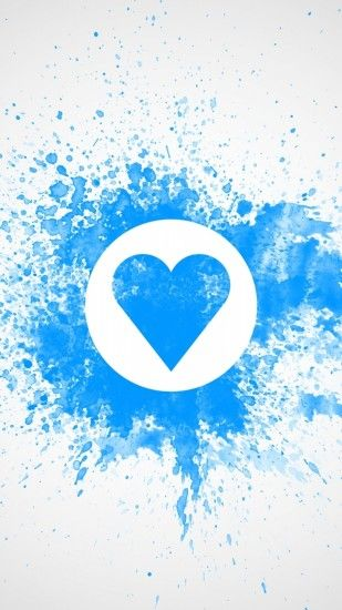 1080x1920 Wallpaper drawing on wall, chalk, blue, white, heart, love,