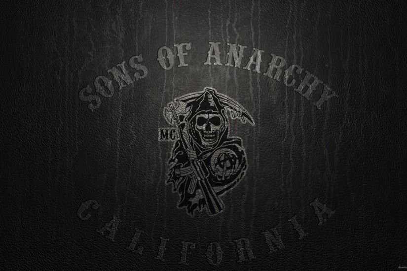 Download 2560x1440 Sons Of Anarchy Logo On Leather Wallpaper