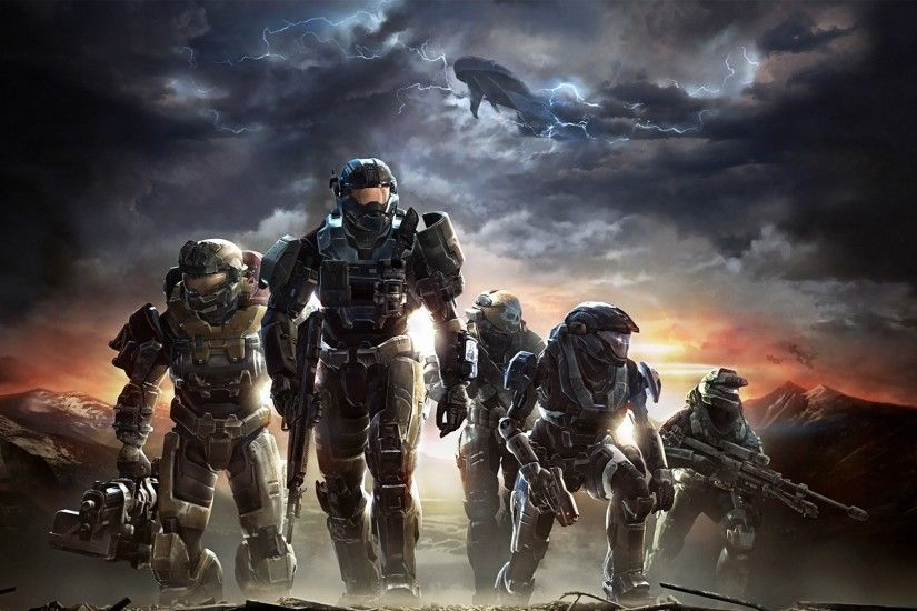 Preview wallpaper halo, soldiers, sky, clouds, mountains 1920x1080