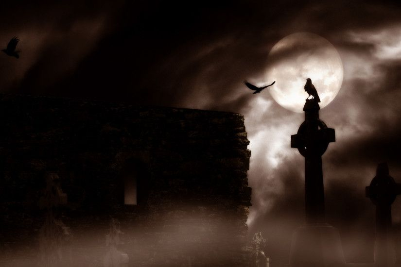 dark horror gothic raven cemetery graveyard halloween wallpaper .