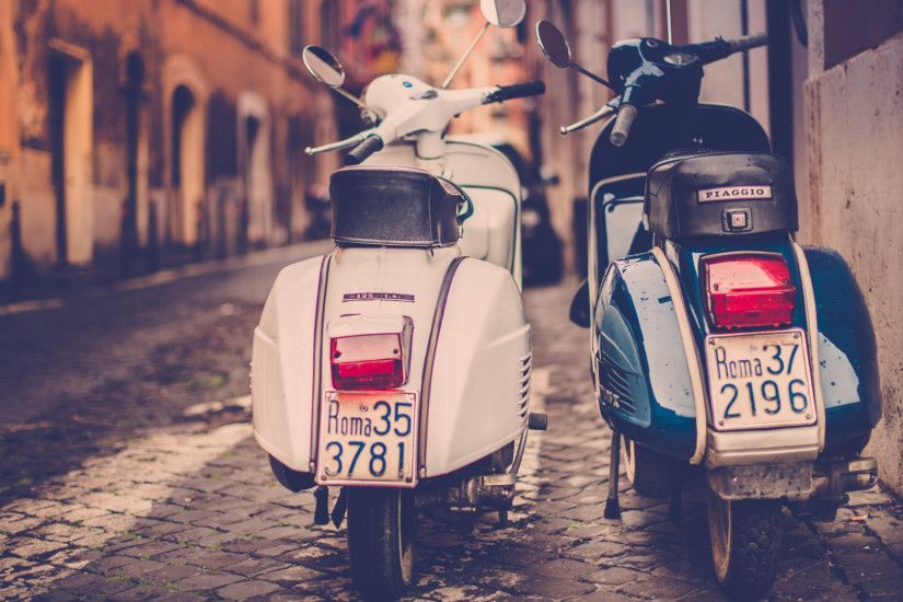 Preview wallpaper scooter, piaggio, street, road, rome, italy 1920x1080