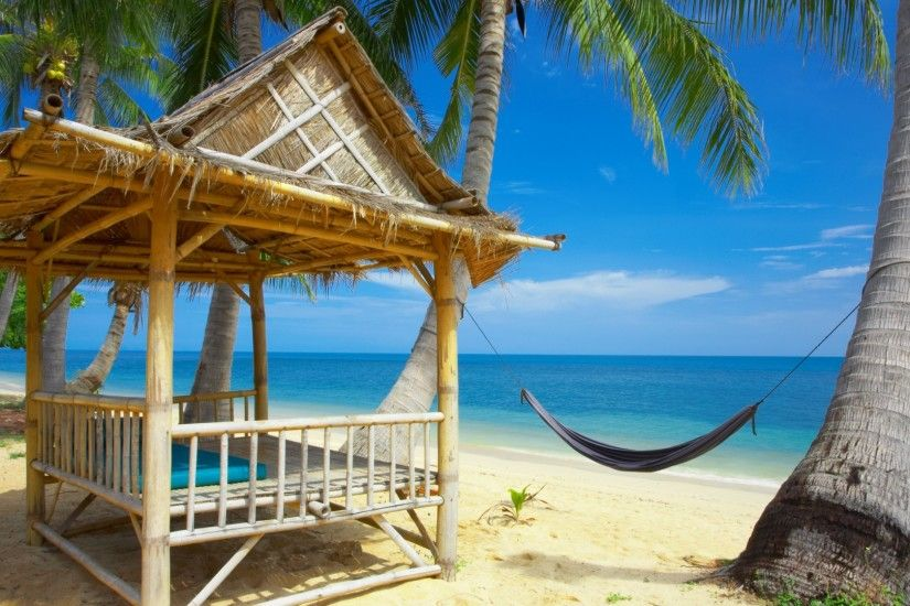 Preview wallpaper hammock, bungalow, coast, beach, rest, resort,  tranquillity,