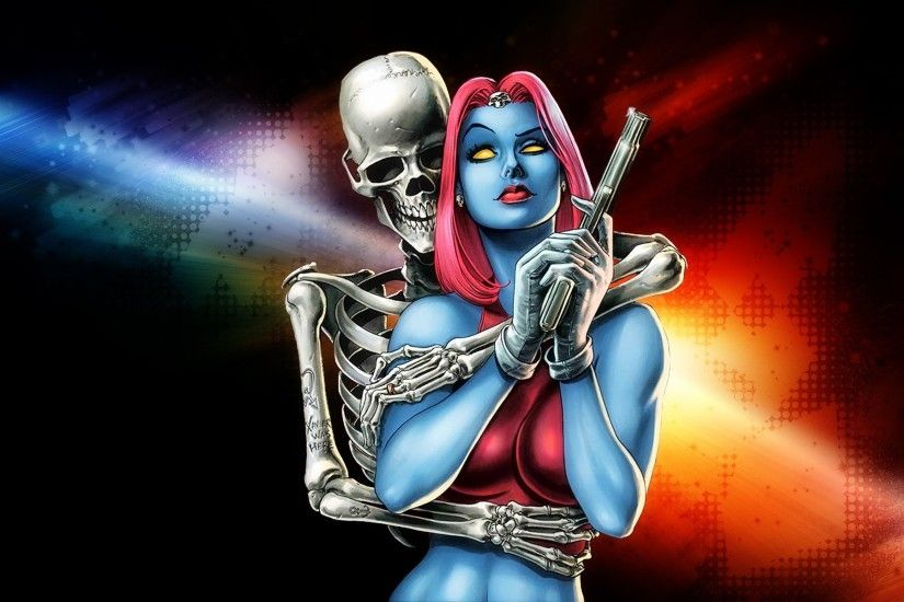 MYSTIQUE marvel superhero action xmen x-men sexy babe skeleton skull  wallpaper