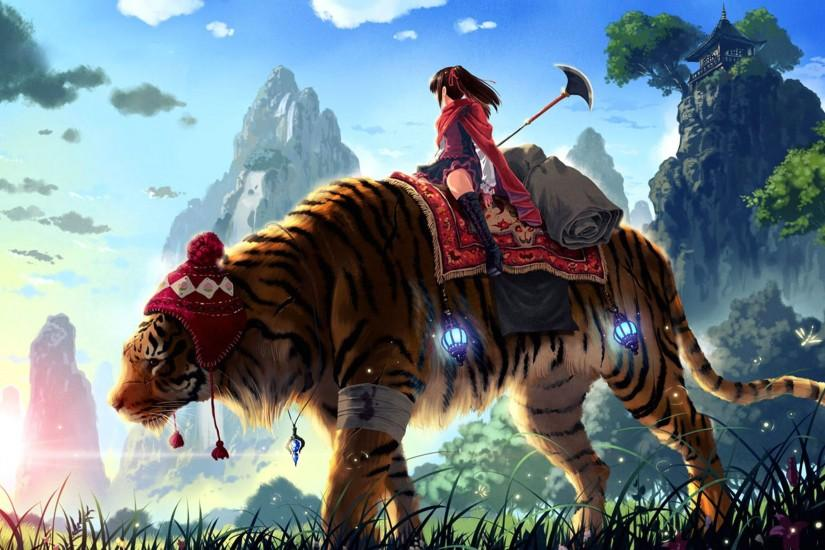 Digital painting of an enormous tiger being riden by a girl