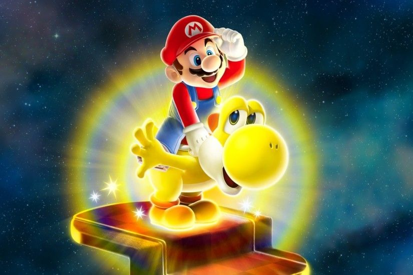 1920x1080 Wallpaper super mario galaxy, mario, dinosaur, yellow, yoshi