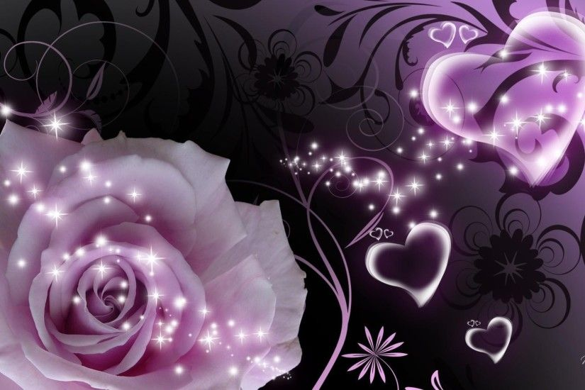 Purple rose and heart a beautiful picture