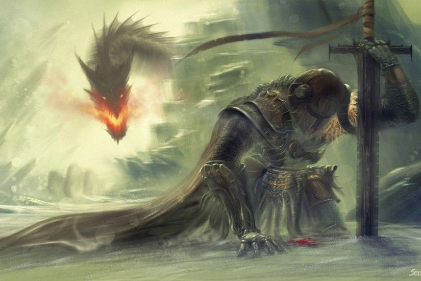 Wallpaper warrior defeated by dragon