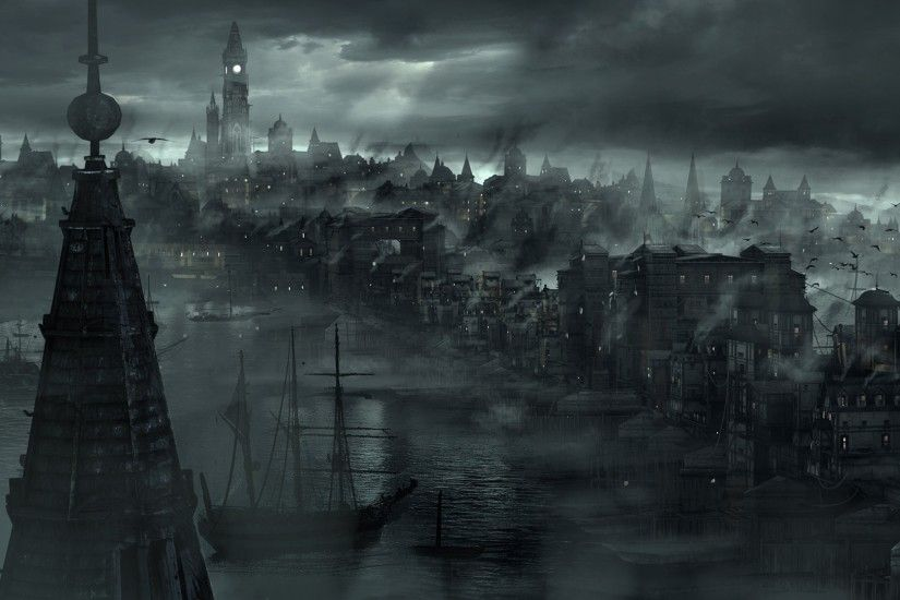 cityscape, City, Mist, Dark, River, Boat Wallpapers HD / Desktop and Mobile  Backgrounds