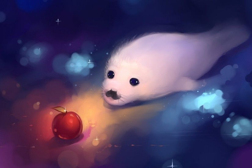 baby seal art hangmoon sea seal baby white apple