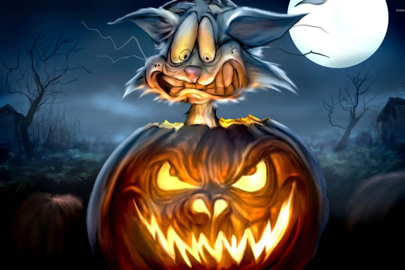 Scared cat in a Jack-o'-Lantern wallpaper