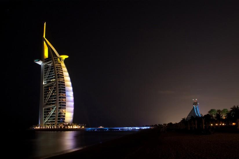 burj al arab, hotel, dubai, oae, night, sea, beach