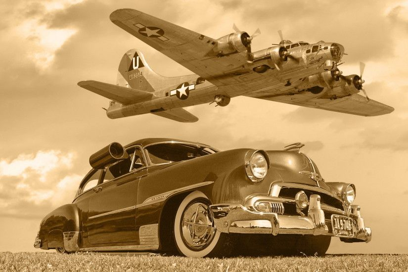 Chevrolet B17 car plane aircrafts lowrider classic military flight fly  sepia monochrome sky clouds wallpaper | 1920x1200 | 52347 | WallpaperUP