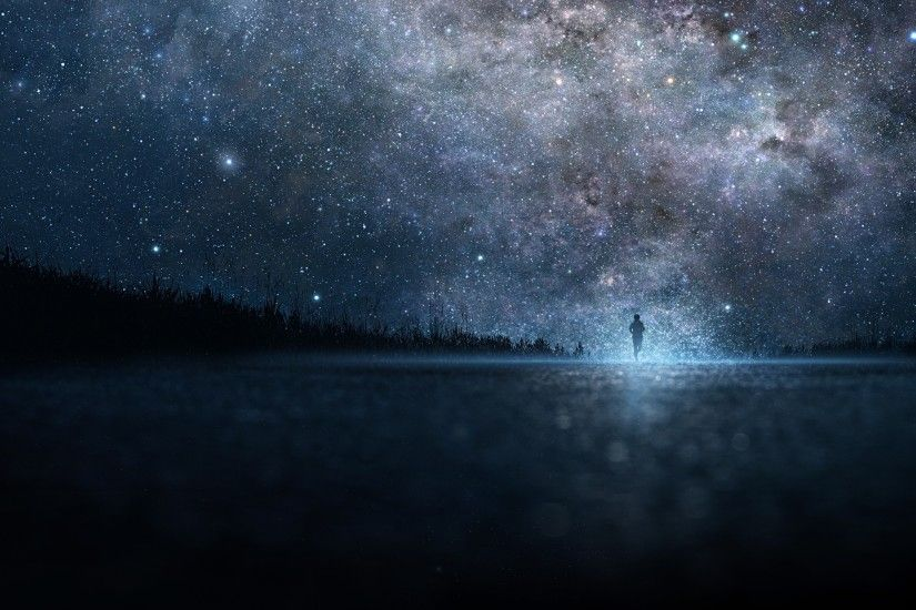 Preview wallpaper star, art, sky, night, people, silhouette 2560x1440