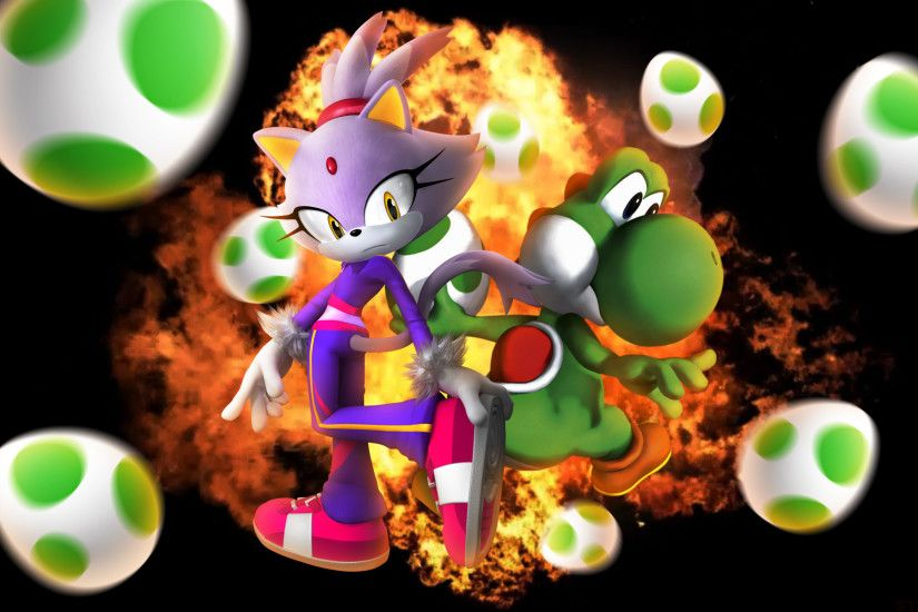 ... SonicTheHedgehogBG Blaze The Cat And Yoshi - Wallpaper by  SonicTheHedgehogBG