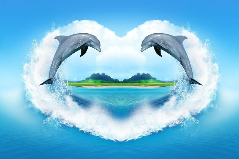 dolphin, water, heart
