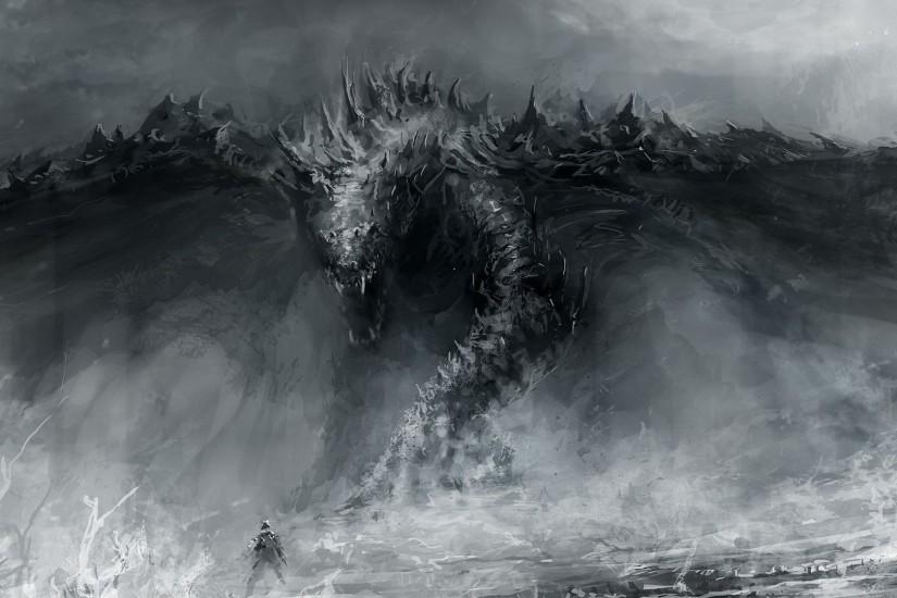Grayscale Monsters Fantasy Art HD Wallpaper. « »